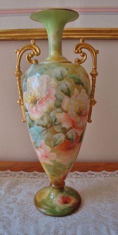 Spectacular Large Belleek Handled Vase Urn Gorgeous Hand Painted Roses Ca. 1889
