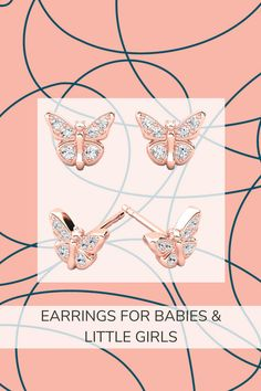 Lady Butterfly comfortable gold earrings for little girls & baby ღ FiolaJewelry Baby Earrings, Kids Earrings, Butterfly Earrings, Gold Earrings, Toddler Jewelry, Baby Jewelry, Kids Jewelry, Little Girl Gifts, Little Girls