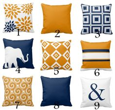 Navy Blue, Carrot, and White Throw Pillow Cover designs. Individually cut and sewn, features a 2 sided print and is finished with a zipper for ease of care. SIZES: 16in. X 16in. 18in. X 18in. 20in. X 20in. IMPORTANT: These are COVERS ONLY! You can cover your existing pillows or purchase inserts online or at any local craft store. FABRIC: Spun Polyester fabric. 100% polyester fabric that is durable and slightly textured and suitable for pillows and drapery. Spun polyester is a great choi...