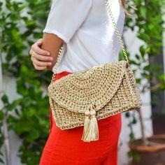 Bolsa Baguete Horizonte •areia/rami• CM325 - Catarina Mina | Bolsas de Crochê feitas a mão