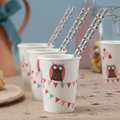 Patchwork Owl Party Cups - Patchwork Owl - Party Themes - Adult Party
