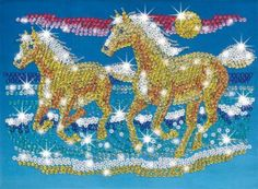 "Sequin Art Paillettenbild mit Perlen ""Pferde"" € 18,95"