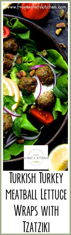 Turkish Turkey Meatball Lettuce Wraps are healthful, light, easy, fun and so flavorful!  It's the perfect summer dinner full of fresh ingredients! via @chefcarolb