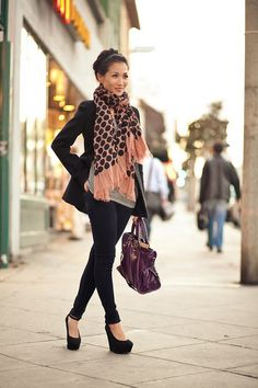 Black coat and trousers, Gray tee, Pink scarf, Purple purse - Semi formal Outfit
