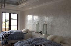 white venetian plaster wall, waxed