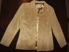 Leather Suede Tan Coat Jacket Women's Ladies Blazer Button Up Size 8 | eBay $9.00
