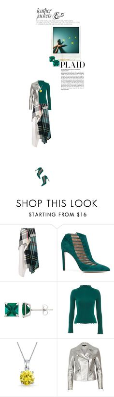 """""""plaid & leather"""" by paperdollsq ❤ liked on Polyvore featuring J.W. Anderson, Polaroid, Chloe Gosselin, Topshop, Bling Jewelry, River Island, leatherjacket, booties, plaid and metallic"""