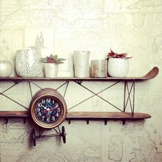 Clock-shelf and little planters from the theme Kersten Loves Global by #kerstenbv #homedeco #lifestyle #homedecoration #clock #shelf #multifunctional #loves #global #airplane #wings #time #flies