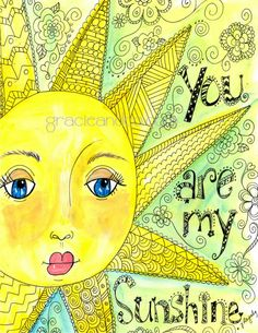 Custom inspirational  hand drawn hand made note cards sunshine fine art you are my sunshine cards doodle acrylic painting via Gracie & Company