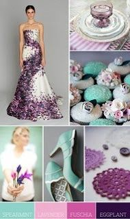 spearmint, lilac, fuscia and eggplant! I love, love, love this color combination!