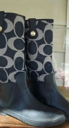 COACH BLUE JEAN RAIN BOOTS Worn only a hand full of times. in like new condition! Coach Shoes Winter & Rain Boots