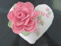 Flowery Felt Heart