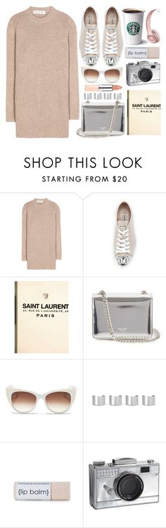 """""""Sugar Sweet"""" by monmondefou ❤ liked on Polyvore featuring Marni, Miu Miu, Yves Saint Laurent, Rochas, Thierry Lasry, Maison Margiela, Kate Spade, Rimmel, Silver and rose"""
