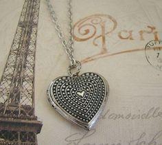 Beautiful Silver Heart Locket Necklace by BackstreetCreations
