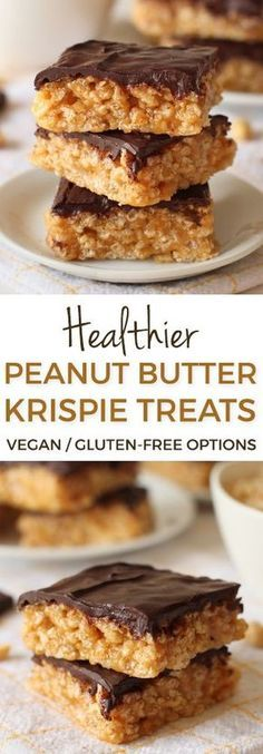 Healthier Chocolate Peanut Butter Rice Krispie Treats – can be made gluten-free, 100% whole grain, vegan and dairy-free!