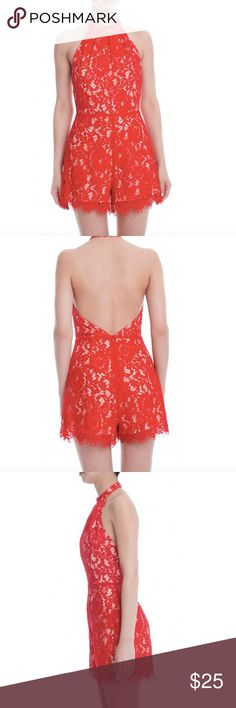 Lush red lace Romper Red Romper With high neck and low back. Red lace over nude fabric. Lush Other