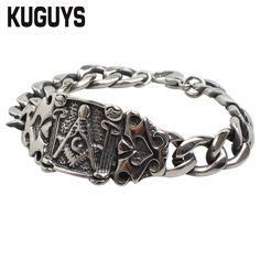 12.8$  Buy here - KUGUYS Freemasonry Bracelets Men Fashion Biker Jewelry Stainless Steel Accessories Masonic Male Chain Bracelet 22cm/8.66inch   #buyininternet