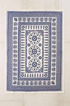 Plum & Bow Euphrates Printed Rug. Could mix match so much with this rug. Navy and white are great non-boring neutrals when together.