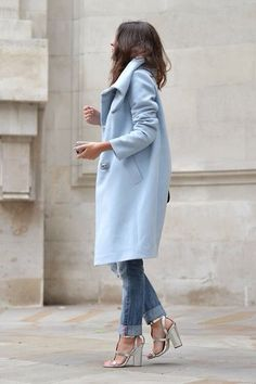 Dress in a baby blue coat and blue distressed jeans and you'll look like a total babe. Complement this look with silver leather heeled sandals.   Shop this look on Lookastic: https://lookastic.com/women/looks/light-blue-coat-blue-ripped-jeans-silver-leather-heeled-sandals/16178   — Light Blue Coat  — Blue Ripped Jeans  — Silver Leather Heeled Sandals