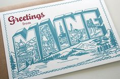 Greetings from Maine Postcard Invitation Typography Design, Lettering, Flyer Printing, Card Printing, Western Christmas, Postcard Invitation, Quilling Patterns, Postcard Design, Vintage Postcards