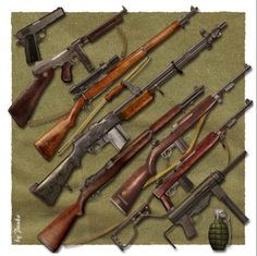 Famous U.S. Weapons from WWII (starting top left): 1. Colt .45 2. Thompson 3. M1903 Springfield Sniper Rifle 4. BAR 5. M1 Garand 6. M1 Cal .30 Carbine 7. M1A1 Cal .30 Carbine with Folding Stock 8. Grease Gun 9. Pineapple Grenade