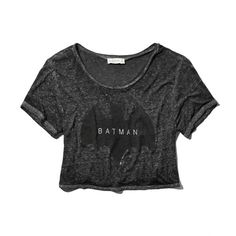 Abercrombie & Fitch Batman Graphic Tee ($9.99) ❤ liked on Polyvore featuring tops, t-shirts, shirts, crop top, tees, dark heather grey, burnout shirt, abercrombie fitch t shirts, t shirts and cropped graphic tees
