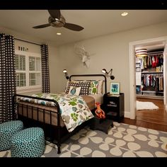 Another great example of mixing colors and patterns that work well together.  Those wall lights and bed are awesome! Credit to Erin Hoopes... - Home Decor For Kids And Interior Design Ideas for Children, Toddler Room Ideas For Boys And Girls