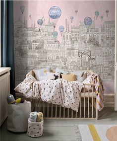 "Balloons Kingdom Wallpaper Fantasy Balloon City Wall Mural Children's Wall Paper Toddler Nursery Kid's Room Blue Sky Pink White 55.5"" x 35"" by DreamyWall on Etsy https://www.etsy.com/listing/484158647/balloons-kingdom-wallpaper-fantasy"