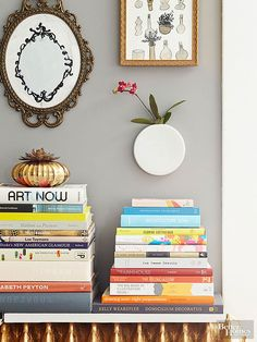 Create artsy display pedestals with stacked books.