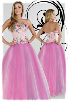 A Line Beaded Tulle Pink Evening Dresses