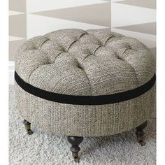 Luxury Bedding by Eastern Accents - Abernathy Collection Round Tufted Ottoman, Ottoman Decor, Interior Design Boards, Interior Decorating Styles, Upholstered Storage Bench, European Home Decor, Banquette, Eclectic Decor, Modern Decor