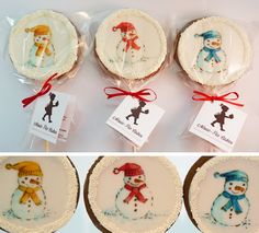 Hand painted snowman cupcakes from Amelie's House