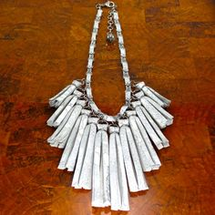 White Leather Tassel Necklace/ Statement by ChandraJewelry on Etsy