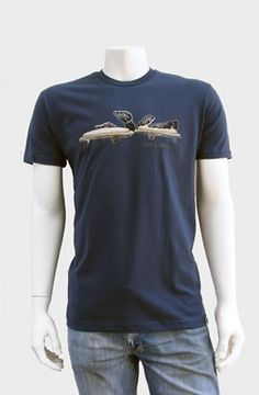 Estilo Clothing Caminando Boogaloo T-shirt  The Caminando Boogaloo Tee depicts the motion of hands drumming ontop of two conga drum heads accented with turntable platter dots. Screen printed with 5 colors onto indigo blue 100% combed cotton jersey premium fitted crew with custom tag on hem. WRAP certified (worldwide responsible accredited p...