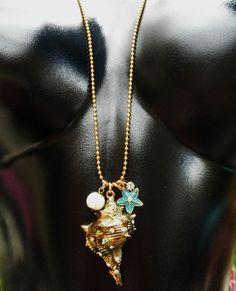"Betsey Johnson Necklace CONCH SHELL Nautical STARFISH 31"" Under The Sea Rare NWT #BetseyJohnson #Chain"