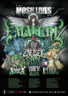Emmure, Chelsea Grin, Attila, Obey The Brave, Buried In Verona. Kann leider nicht dabei sein. Verona, Brave, Cool Album Covers, Chelsea, Top Band, Tour Posters, Best Albums, Concert Posters, Bury