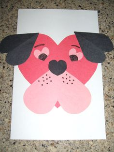 Use different sizes of hearts to create a cute puppy dog card for someone special. Kids will love creating these.