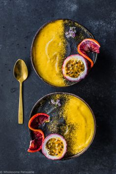 Turmeric Charcoal Smoothie Bowls! Vegan and gluten free. Under 10 ingredients! That's right, activated charcoal is sprinkled over these bright yet moody banana ice-cream bowls!