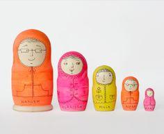 Blank Matryoshka Dolls Illustrated by the lovely Kat Chadwick