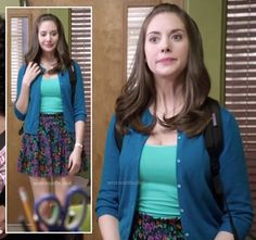 Annie's floral skirt, turquoise cami and blue cardigan on Community.  Outfit details: http://wornontv.net/15092/