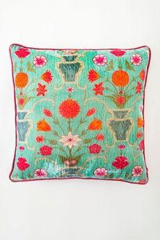 "Gorgeous India colors! Goodearth - Galeecha Silk Velvet Cushion 20"" x 20"""