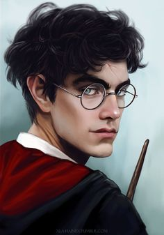 So attracted to this fanart of Harry, Ginny's so lucky. (And Lily's so lucky with James too just sayin damn these Potter genes.) || By: xla-hainex on Tumblr.