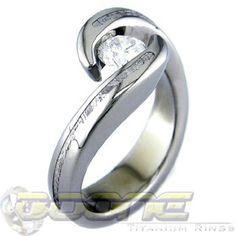 Meteorite and diamond ring