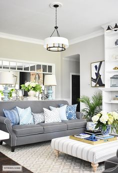 Layer different patterns and textures with your textiles to create a relaxed vibe for the Summer months. Subtle blues, greys and ivories are sophisticated and elegant.