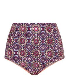 Multi Coloured Tile Print High Waisted Bikini Bottoms