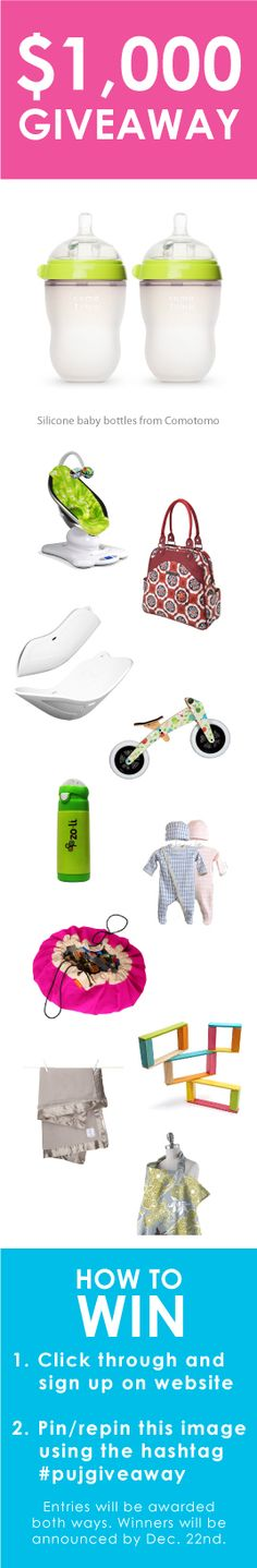 Repin this and you could win over $1,000 worth of baby gear from companies like Comotomo! #pujgiveaway