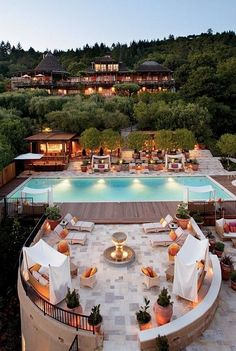 Outdoor pool and terrace area at the Auberge du Soleil: Napa Valley Hotel, Restaurant & Spa Resort. Napa Valley, Valley Pool, Vacation Destinations, Dream Vacations, Vacation Spots, Honeymoon Spots, Romantic Destinations, Places To Travel, Places To See