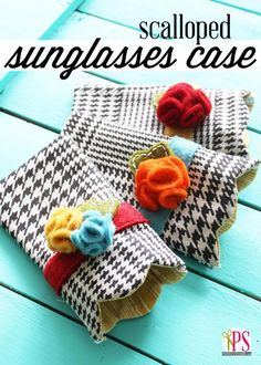 Scalloped Sunglasses Case Sewing Pattern :: PositivelySplendid.com - A fun DIY sewing project! Protect your sunglasses in a homemade custom case courtesy of TheFabricExchange.com's wide variety of fabrics!