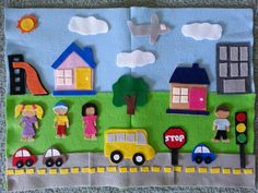 Items similar to The TOWN - Felt Board; felt toy - Montessori inspired toy on Etsy - - Items similar to The TOWN - Felt Board; felt toy - Montessori inspired toy on Etsy. Diy Quiet Books, Felt Quiet Books, Felt Diy, Felt Crafts, Fuzzy Felt, Felt Stories, Toddler Fun, Busy Book, Business For Kids