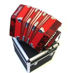 Concertina red pearl accordion